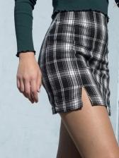 Versatile High Waisted Split Plaid Skirt