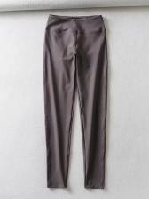 Elastic Solid High Waisted Women Yoga Pants