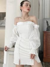 Contrast Color Stringy Selvedge Long Sleeve Off The Shoulder Dress