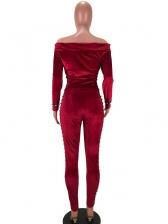 Velvet Solid Faux Pearl Decor Off Shoulder Two Piece Trouser Set