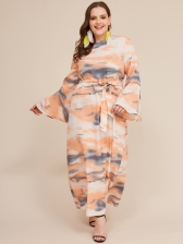 Crew Neck Waist Fitted Long Sleeves Plus Size Dress