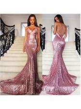 V Neck Backless Sequin Long Sleeveless Prom Dress