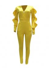 Deep v Ruffled Sleeve Jumpsuits For Women
