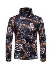 Turtle Neck Chain Star Printed Sheathy Men T Shirt