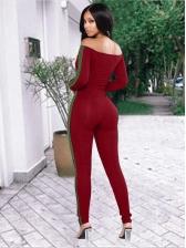 Skinny Solid Ladies Off The Shoulder Jumpsuit