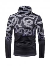 Autumn Snake Pattern Black Men Long Sleeve T Shirt