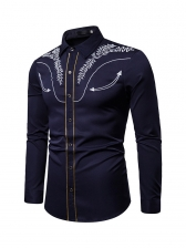 Simple Pattern Embroidered Turndown Neck Men Shirt