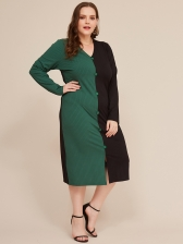 Contrast Color V Neck Long Sleeves Plus Size Dress