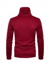 Minimalist Pure Color Zipper Neckline Men Sweatshirt