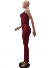 Pleuche Shoulder Strap Women Red Jumpsuit