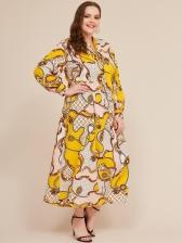 Long Lantern Sleeves Plus Size Dress