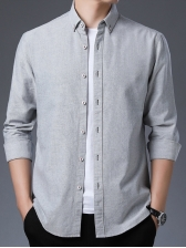 Minimalist Pure Color Single Breasted Shirts For Men