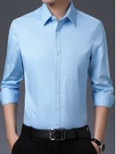 Business Style Solid Button Up Men Long Sleeve Shirts