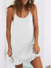 Backless Solid Ruffled Sleeveless Dresses For Home