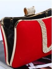 Suede Rhinestone Patchwork Evening Bags