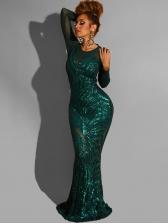 Elegant Long Sleeve Sequin Evening Dress