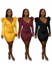 Sexy V Neck Pu Long Sleeve Bodycon Dress