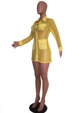 Turndown Collar Mesh Long Sleeve Shirt Dress