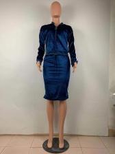 Striped Side Velvet Two Piece Skirt Sets
