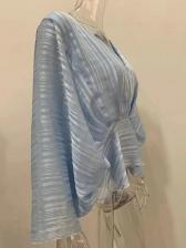 Ruffle Hem Bat Sleeve Loose Blouse Fot Women