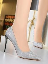 Glitter Pointed Tone Women High Heels