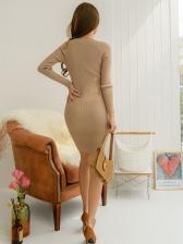 Minimalist Rib-Knit Khaki Long Sleeve Bodycon Dress