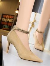 Euro Rhinestone Decor Ankle Strap Heels