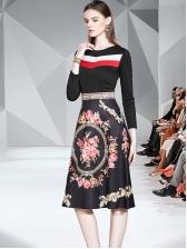 Stitching Color Flower Printed Ladies Long Sleeve Dress