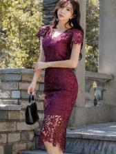 Hollow Out Venise Lace Short Sleeve Lace Dress