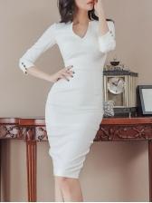 Elegant V Neck White Long Sleeve Dress
