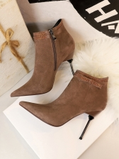 Stylish Suede Rhinestone Decor Heeled Ladies Boots