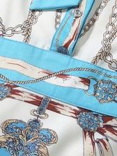 Tie Bow Neck Chain Printed Large Hem Ladies Dress