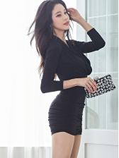Simple Pleated Design Black Long Sleeve Mini Dress