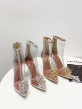 Hot Sale Clear Rhinestone Heeled Womens Ankle Boots