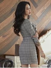 Autumn V Neck Ruffles Detail Plaid Dress In Gray
