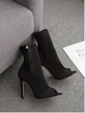 Peep Toe Women High Heeled Black Boots