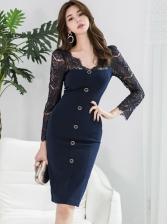 Elegant Lace Stitching Long Sleeve Ladies Bodycon Dress