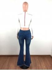 Tassel Hem High Waist Flare Jeans For Women