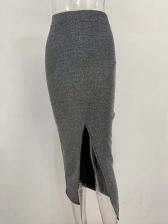 Fashion Split Hem Glitter High Waist Skirt