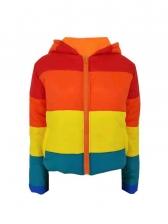 Iridescent Color Long Sleeve Ladies Winter Coats