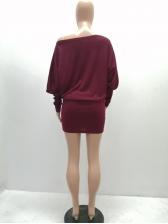 Inclined Shoulder Bat Sleeve Solid Color Women Dress