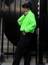 Loose Solid Lambswool Stand Collar Zipper Sweatshirt