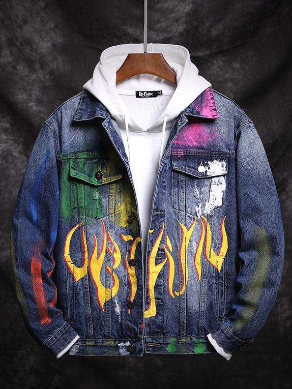 Hip-Pop Loose Graffiti Print Denim Jacket