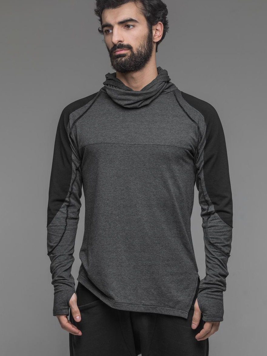 Sporty Contrast Color Hooded Men t Shirt