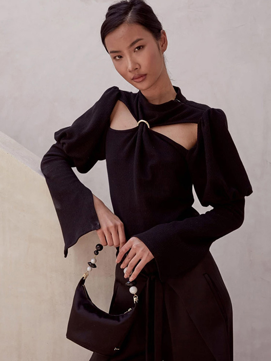 Chic Hollow Out Puff Sleeve Black Blouse