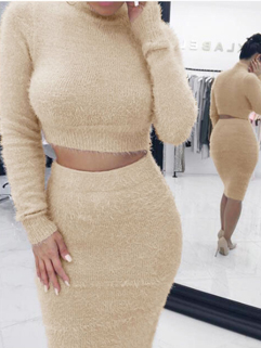 Winter Mock Neck Solid Crop 2 Piece Skirt Sets