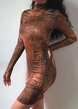 Fashion AlligatorPrintLong Sleeve Dress