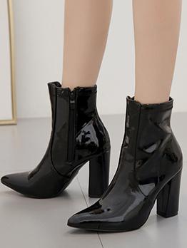 Pu Chunky Heel Black Boots