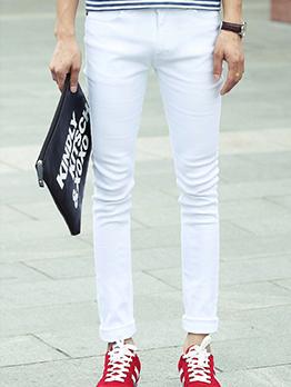Elastic Solid Fitted Men Denim Jeans