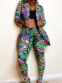 Printed Turndown Collar Long Blazer With Skinny Pants